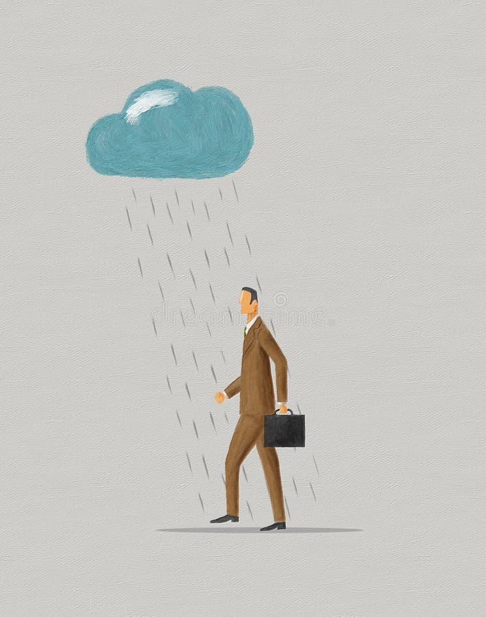 Uomo d'affari che cammina nell'ambito del raincloud immagine stock