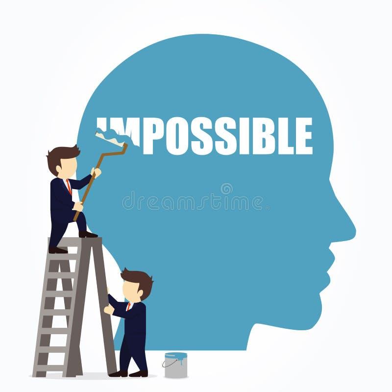 Uomo d'affari che cancella la parola impossibile in una grande testa illustrazione di stock
