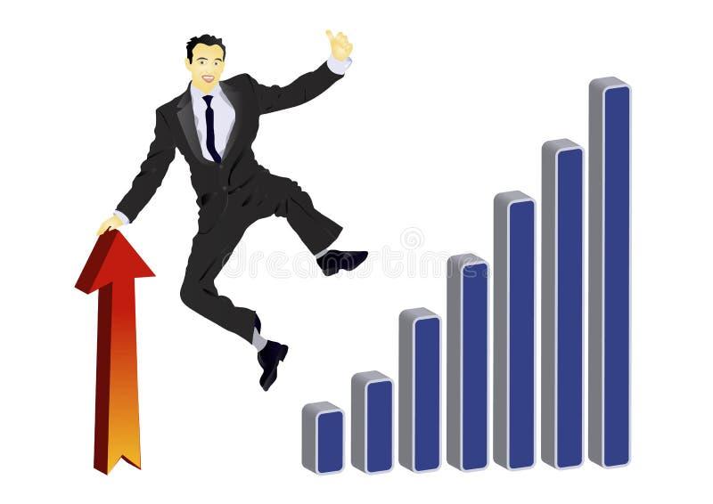 Uomo d'affari che celebra il suoi successo e salto illustrazione vettoriale