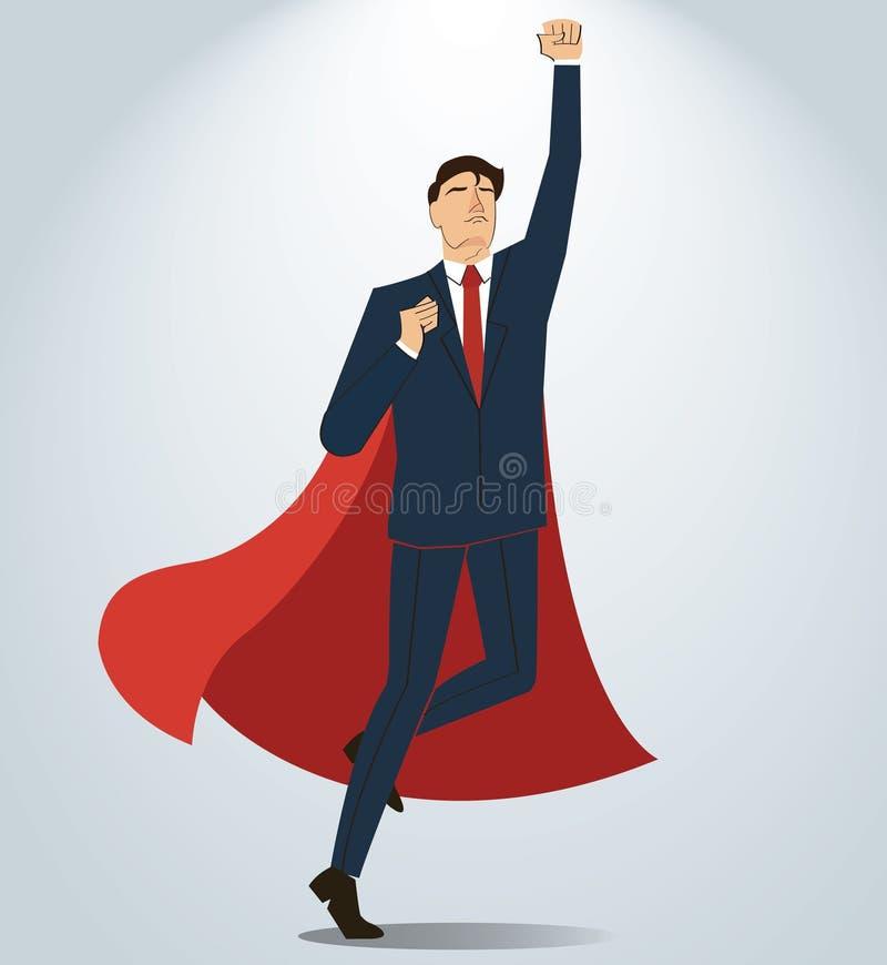 Uomo d'affari che celebra un riuscito risultato Illustrazione di concetto di affari illustrazione vettoriale