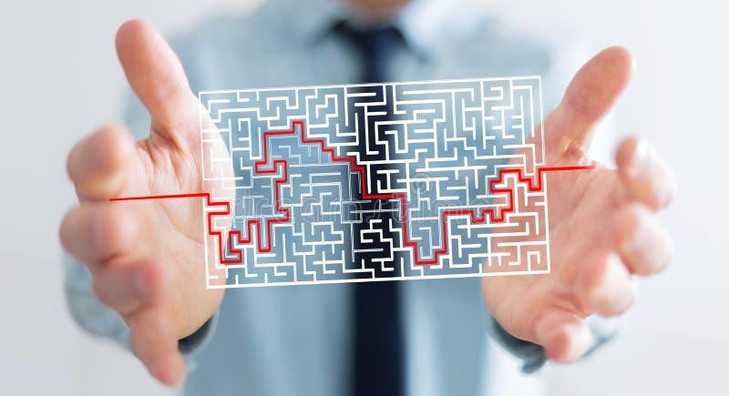 Uomo d'affari che cerca soluzione di labirinto complicato illustrazione di stock