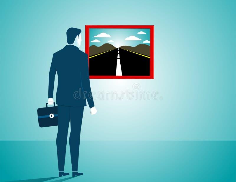 Uomo d'affari che cerca una nuova strada Illustratio di affari di concetto illustrazione vettoriale