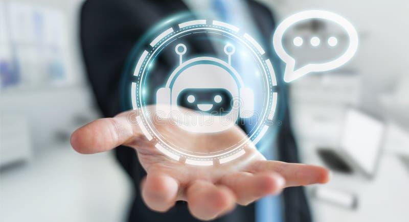Uomo d'affari che chiacchiera con la rappresentazione di applicazione 3D del chatbot illustrazione di stock