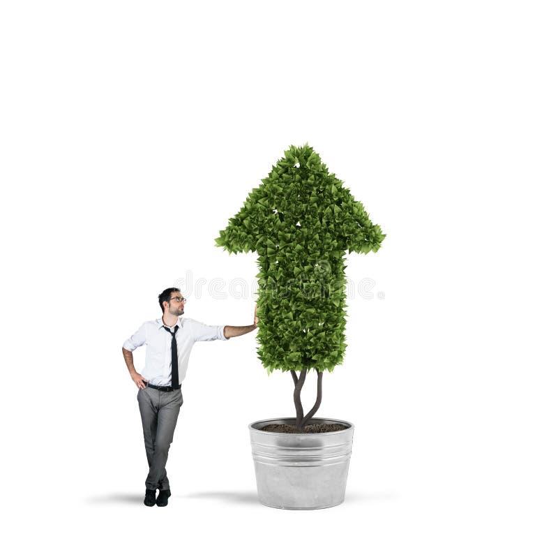 Uomo d'affari che coltiva una pianta con una forma della freccia Concetto di crescita dell'economia della società fotografie stock libere da diritti
