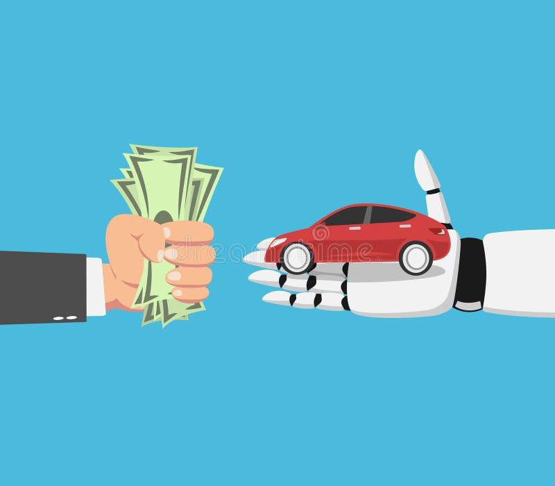 Uomo d'affari che compra un'automobile dal robot royalty illustrazione gratis