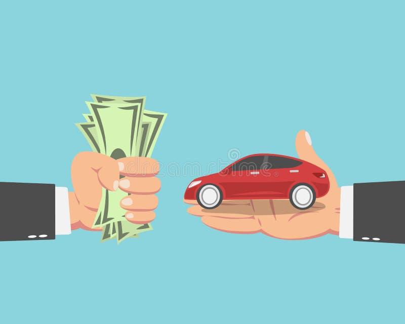 Uomo d'affari che compra una nuova automobile royalty illustrazione gratis