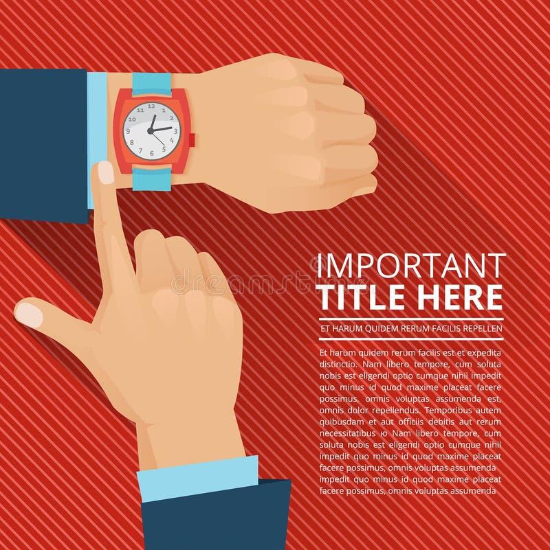 Uomo d'affari che considera l'orologio della mano Manifesto di vettore illustrazione di stock