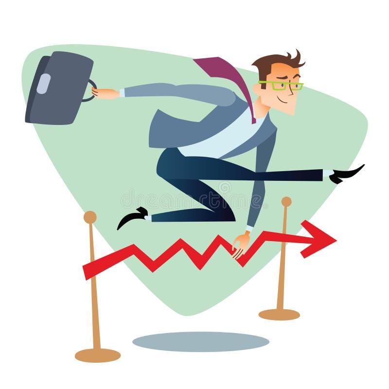 Uomo d'affari che corre e che salta sopra il programma delle barriere delle vendite royalty illustrazione gratis