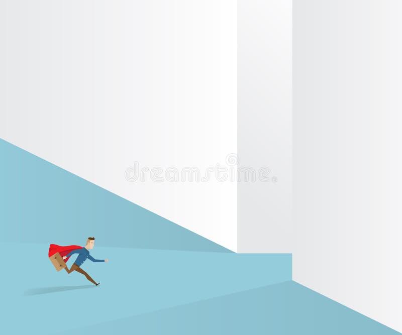 Uomo d'affari che corre per uscire modo illustrazione di stock