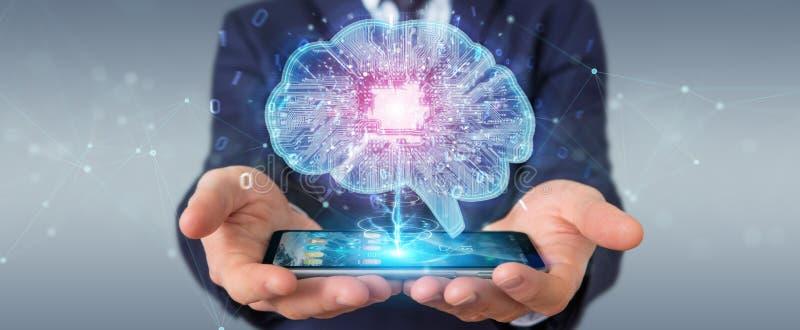 Uomo d'affari che crea intelligenza artificiale in un cervello digitale