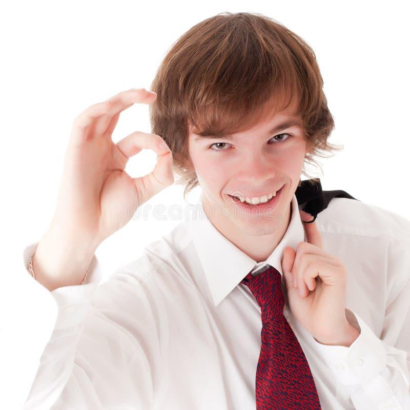 Uomo d'affari che dà gesto GIUSTO immagini stock