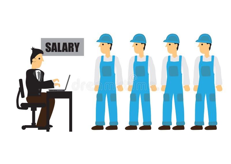 Uomo d'affari che d? gli stipendi ai muratori illustrazione vettoriale