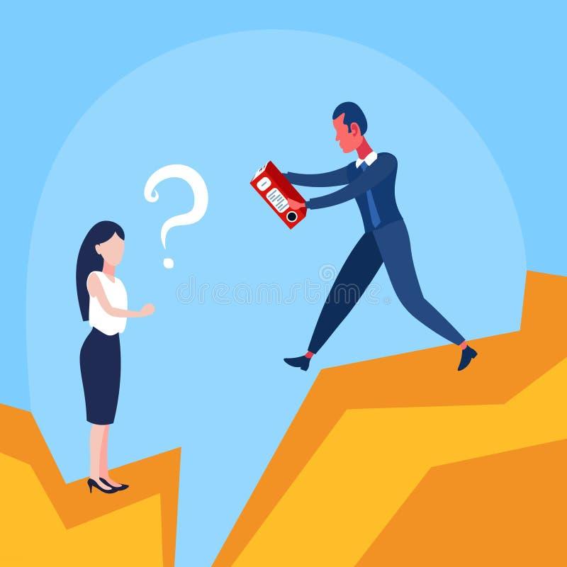 Uomo d'affari che dà la donna del punto interrogativo della cartella documenti sopra la gente di affari di aiuto di cooperazione  royalty illustrazione gratis