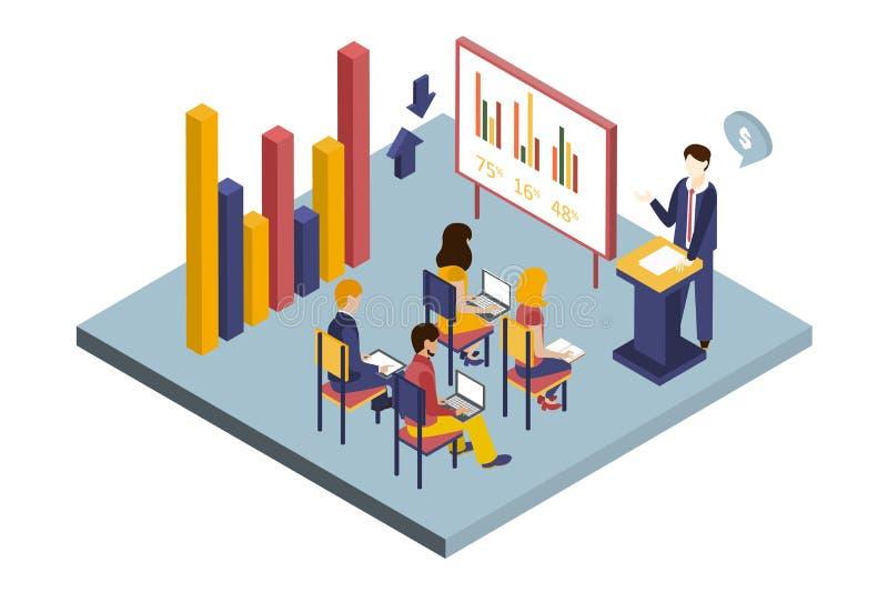 Uomo d'affari che dà presentazione agli impiegati nell'auditorium dell'ufficio, illustrazione interna di vettore dell'ufficio mod illustrazione vettoriale