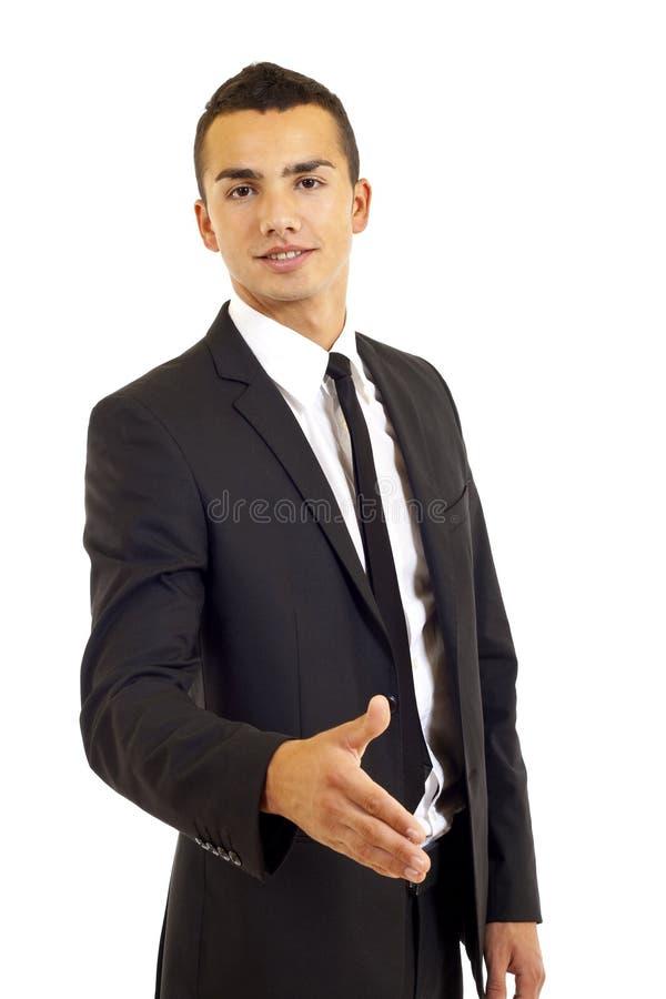 Uomo d'affari che dice benvenuto fotografie stock libere da diritti