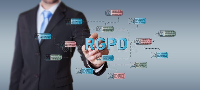 Uomo d'affari che disegna l'interfaccia di legge di GDPR con una penna illustrazione vettoriale