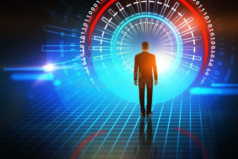 Uomo d'affari che entra in interfaccia futuristica blu rossa illustrazione di stock