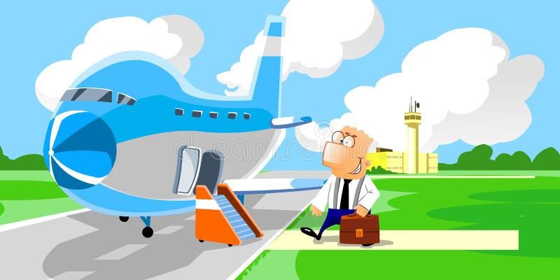 Uomo d'affari che entra nell'aeroplano royalty illustrazione gratis
