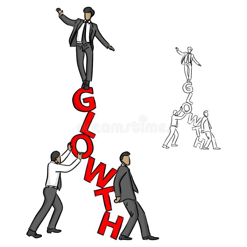 Uomo d'affari che equilibra sulla parola rossa CRESCITA con i suoi assistenti illustrazione vettoriale
