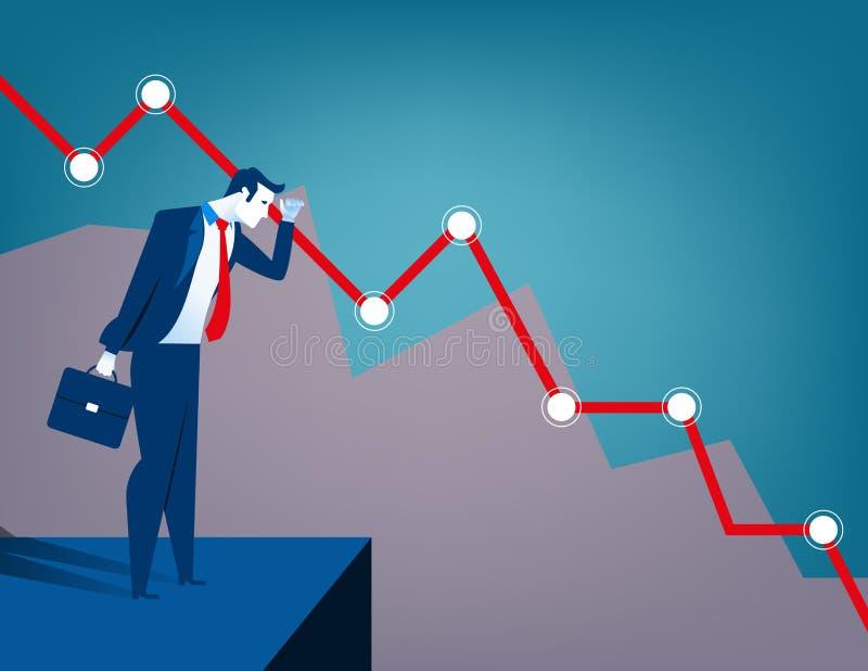 Uomo d'affari che esamina diagramma di caduta C economica e finanziaria illustrazione di stock
