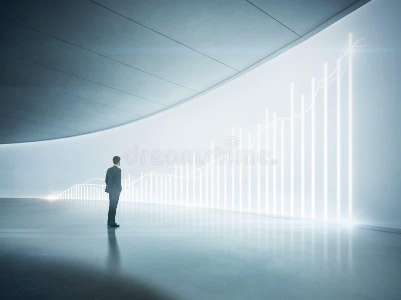 Uomo d'affari che esamina grafico brillante sulla parete immagine stock