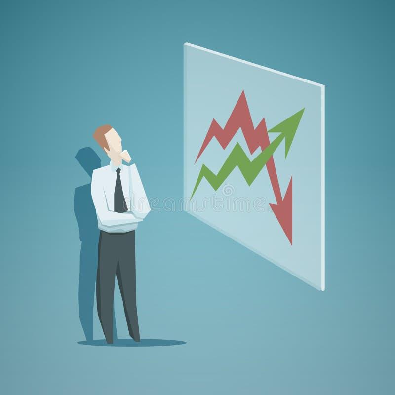 Uomo d'affari che esamina il grafico royalty illustrazione gratis