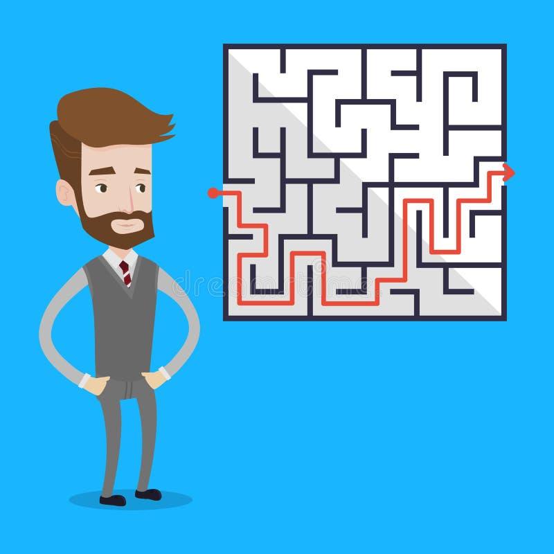 Uomo d'affari che esamina il labirinto illustrazione di stock