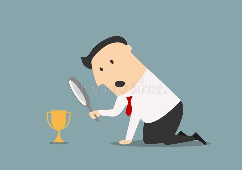 Uomo d'affari che esamina trofeo tramite la lente royalty illustrazione gratis