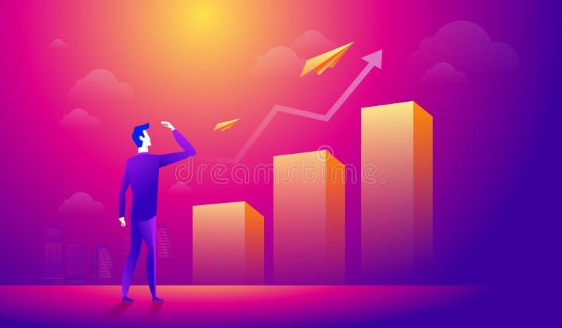 Uomo d'affari che esamina un aereo di carta sopra la freccia crescente del grafico Gente di affari che cerca la nuova opportunità illustrazione vettoriale