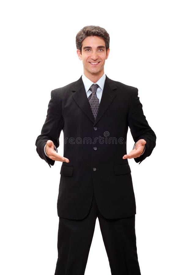 Uomo d'affari che fa presentazione fotografie stock