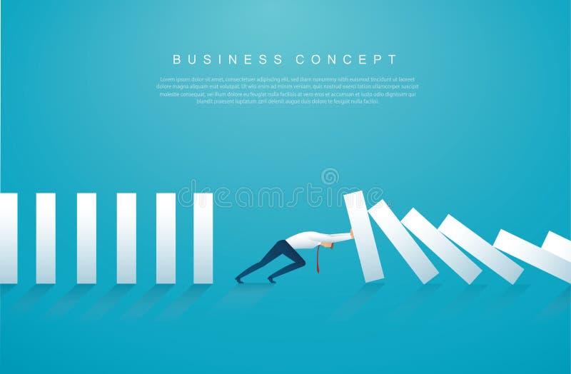 Uomo d'affari che ferma l'effetto di domino illustrazione eps10 di vettore di concetto di affari royalty illustrazione gratis