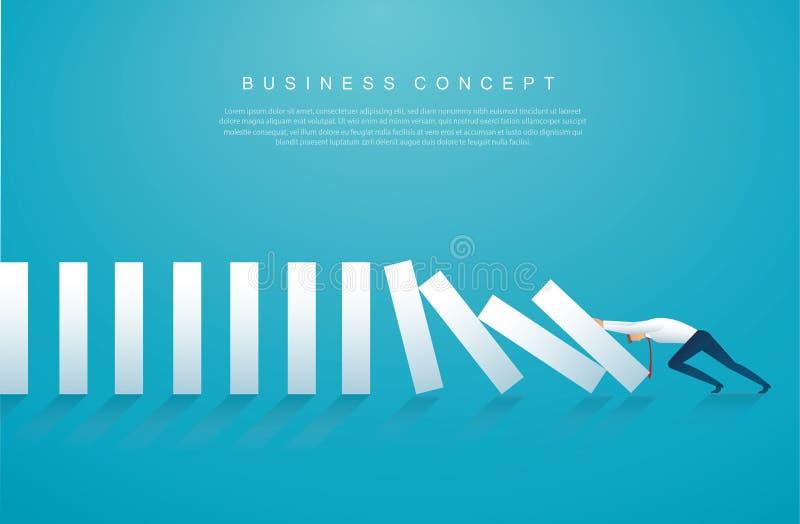Uomo d'affari che ferma l'effetto di domino illustrazione eps10 di vettore di concetto di affari illustrazione vettoriale