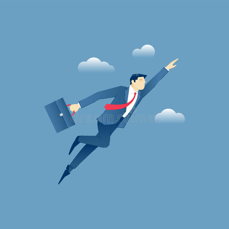 Uomo d'affari che fliying attraverso il cielo come supereroe royalty illustrazione gratis