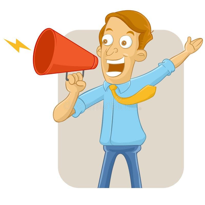 Uomo d'affari che grida nel megafono illustrazione vettoriale