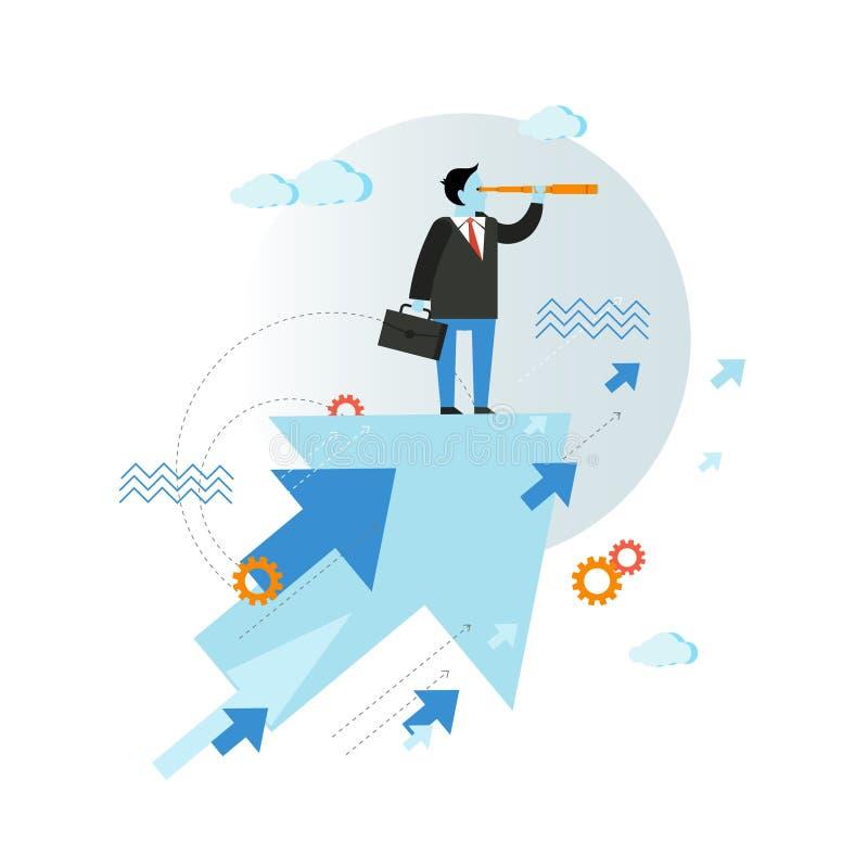 Uomo d'affari che guarda attraverso l'illustrazione di vettore del cannocchiale nella progettazione piana di stile Concetto creat illustrazione vettoriale
