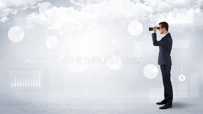 Uomo d'affari che guarda in avanti con il binocolo illustrazione di stock