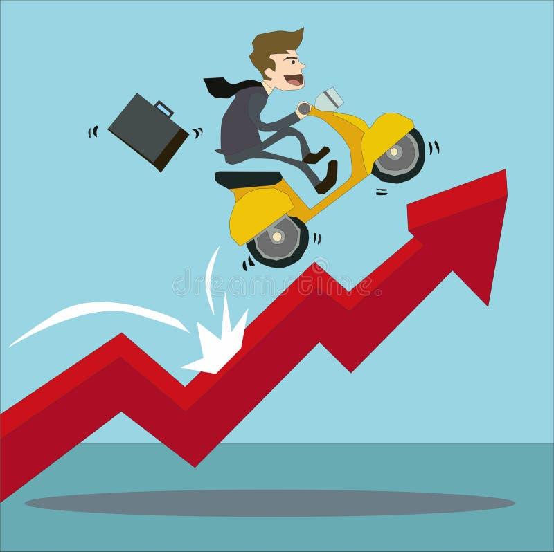 Uomo d'affari che guida il suo motorino sul grafico commerciale crescente della freccia rossa illustrazione vettoriale
