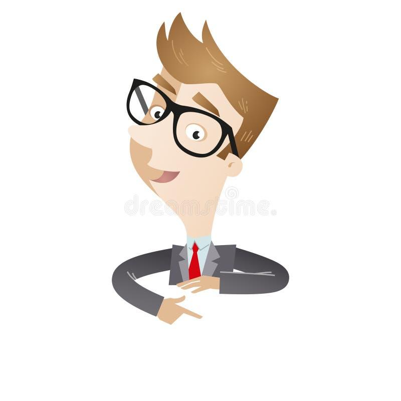 Uomo d'affari che indica al bordo in bianco illustrazione di stock