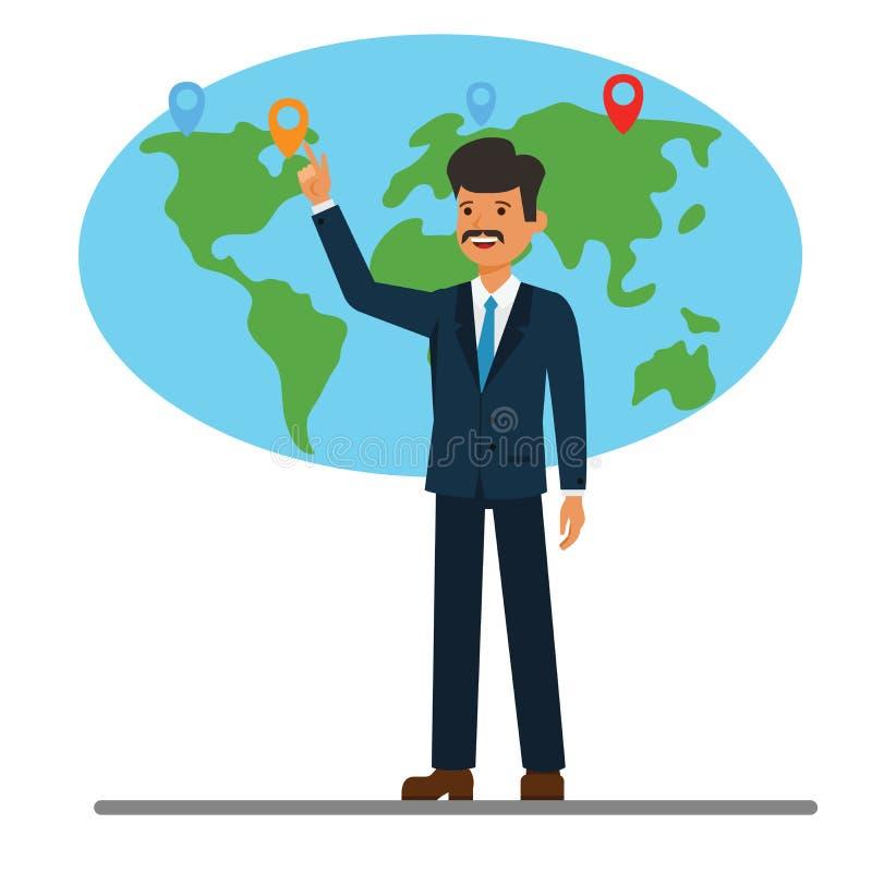 Uomo d'affari che indica al concetto piano dell'illustrazione di vettore di mondo del fumetto globale della mappa su fondo bianco illustrazione vettoriale