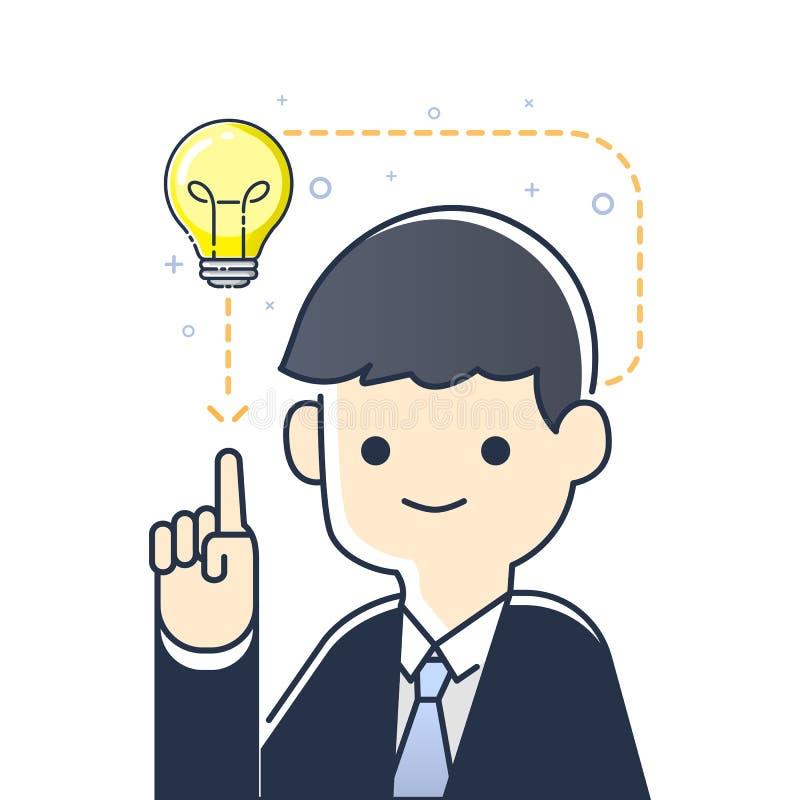 Uomo d'affari che indica la lampadina che ha una buona idea, illustrazione di vettore illustrazione vettoriale