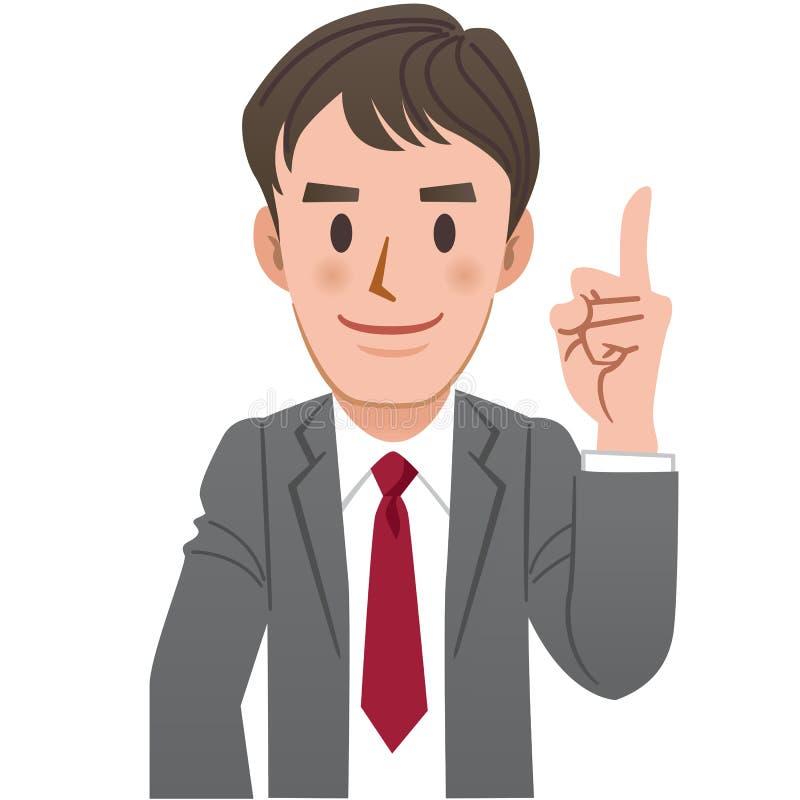 Uomo d'affari che indica su con il dito indice illustrazione di stock