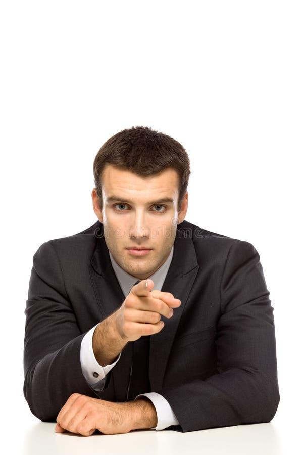 Uomo d'affari che indica voi fotografia stock