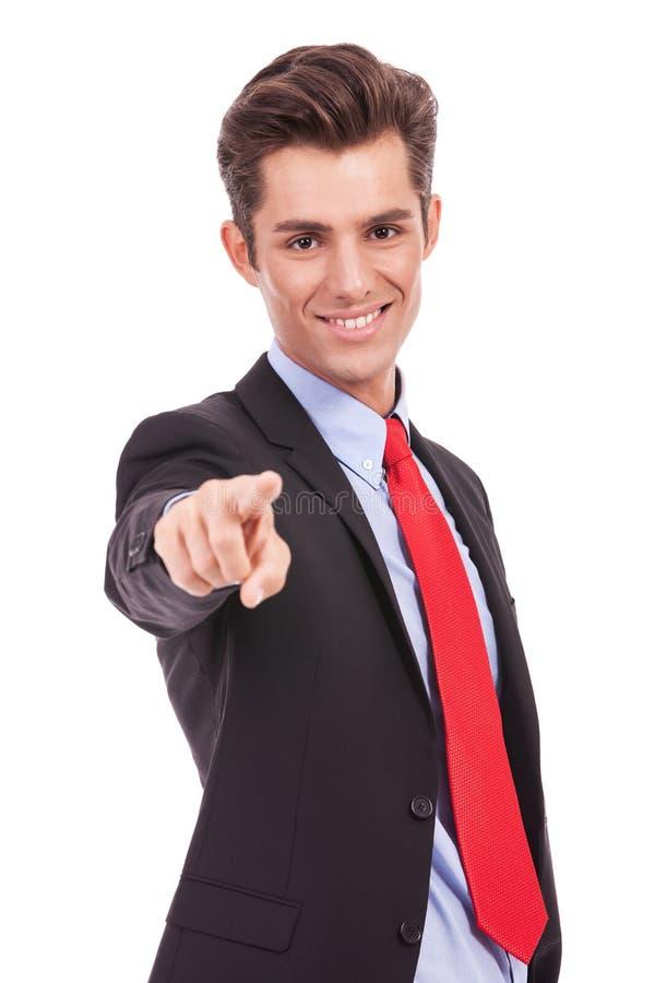 Uomo d'affari che indica voi immagini stock