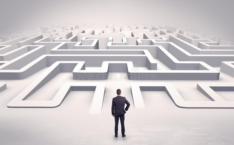 Uomo d'affari che inizia un labirinto piano 3d illustrazione vettoriale