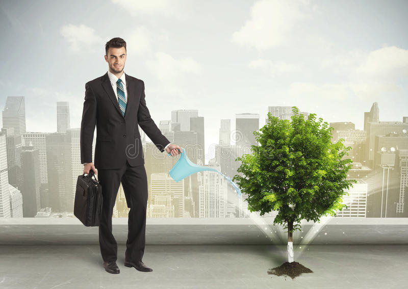 Uomo d'affari che innaffia albero verde sul fondo della città immagine stock