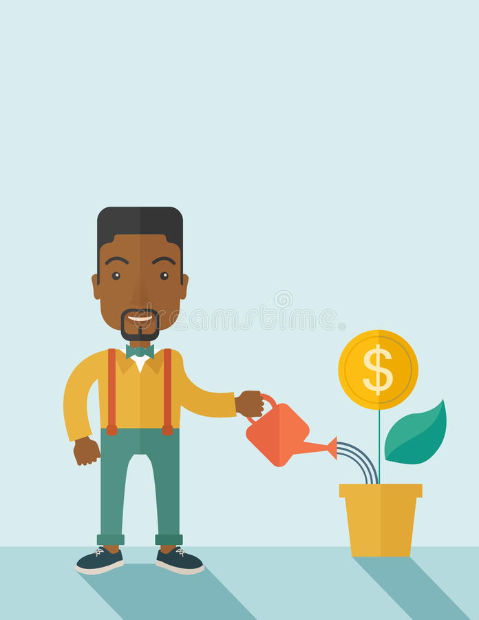 Uomo d'affari che innaffia una pianta crescente illustrazione di stock