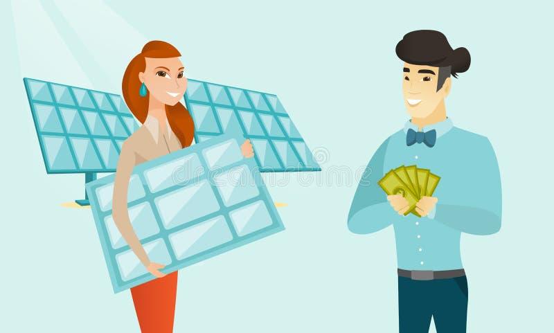 Uomo d'affari che investe soldi nella tecnologia verde royalty illustrazione gratis