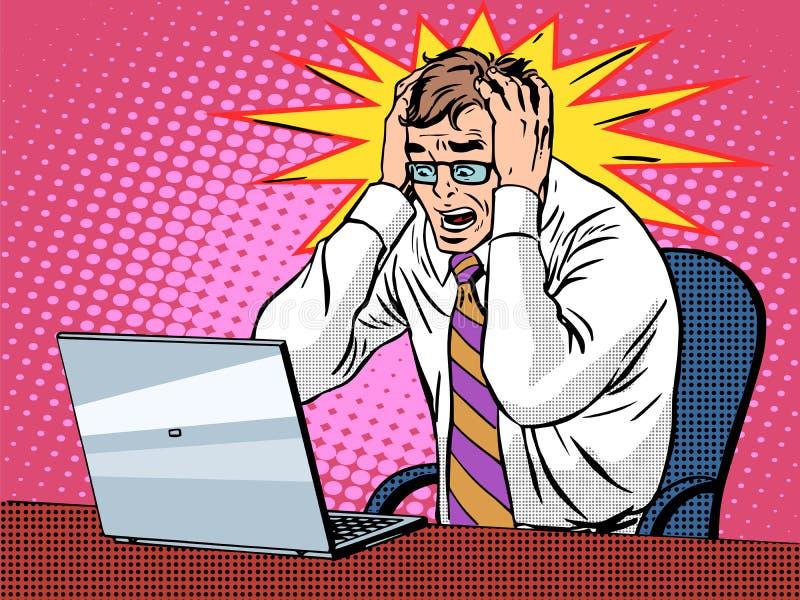 Uomo d'affari che lavora al panico di cattive notizie del computer portatile royalty illustrazione gratis