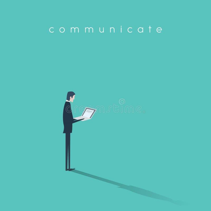 Uomo d'affari che lavora all'illustrazione di vettore del computer portatile Simbolo di affari della comunicazione digitale moder royalty illustrazione gratis