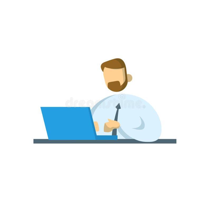 Uomo d'affari che lavora allo scrittorio Ufficio, affare e comunicazione Illustrazione piana di vettore Isolato su bianco illustrazione vettoriale